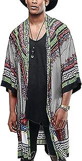 COOFANDY Mens African Dashiki Printed Ruffle Shawl Collar Cardigan Lightweight Long Length Drape Cape