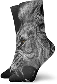 Novedad Divertido Crazy Crew Sock Fierce Lion King Animal Impreso Sport Athletic Calcetines Calcetines de regalo personalizados de 30 cm de largo