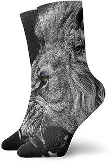Novedad Divertido Crazy Crew Sock Fierce Lion King Animal Impreso Sport Athletic Calcetines Calcetines de regalo personalizados de 30 cm de largo