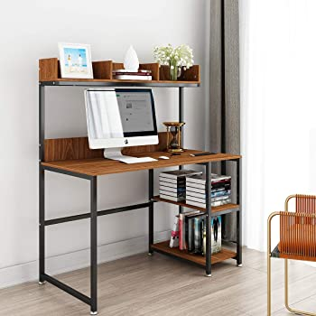 Amazon Com Computer Desk With Storage Shelf 47 Office Desk With Hutch And Storage Shelf Gaming Desk Home Office Desk Writing Study Table Workstation With Bookshelf Space Saving For Small Space Kitchen