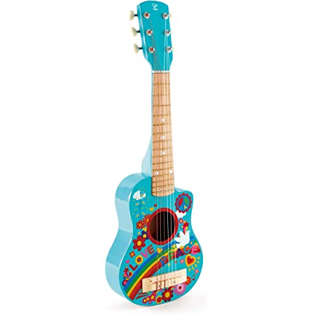 Hape-HAPE-E0600-Instrument de Musique Mini-Guitare Flower Power Jouets en Bois, E0600, Multicolore, Taille Unique