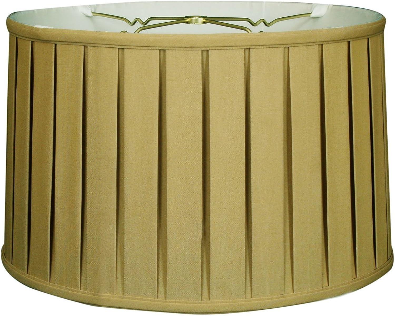 Royal Designs BS-748-18AGL Shallow Drum English Bo x Pleat Basic Lamp Shade, 17 x 18 x 11.5, Antique gold