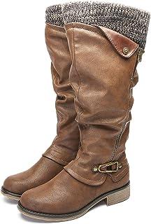 gracosy Botas de Mujer Otoño Invierno 2020 Tacon Bajo Zapatos Largas Botas Forrado de Piel Antideslizante Cómodo Cremaller...