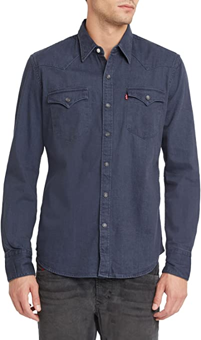 Levis Barstow Western - Camisa para Hombre - Gris
