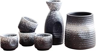 DQM 5 st sakeset med värmare, japansk traditionell keramisk mini japanska sakeset med sake-servering, sakeflaska, 4 saksko...