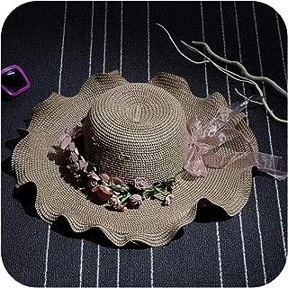 Women Straw Sun Hat Sombrero Sun Visor Brim Bowknot Wave Ladies Hat Flower