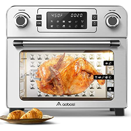 """Aobosi Toaster Oven Air Fryer Oven Toaster Convection Oven Digital Countertop Rotisserie Oven Pizza Oven 10-in-1 Multi-Function Toast/Roast/Broil/Bake/Dehydrate Large 24Qt Recipe 1700W 16x13x16"""" (Renewed)"""