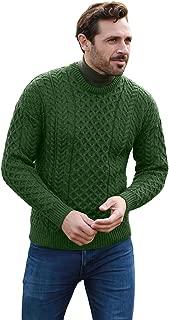 Carraig Donn Men's Irish Traditional Aran Merino Wool Pullover Sweater
