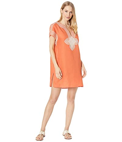 Tory Burch Swimwear Embroidered Beach Tunic Cover-Up (Blazing Sky) Women