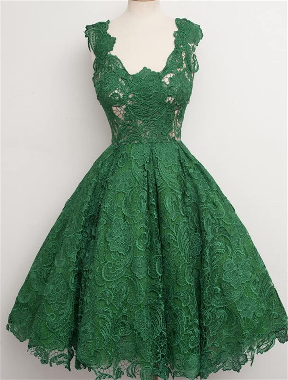 European and American Fashion Retro Princess High Waist Sleeveless Green Lace Evening Dress,S