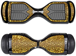 MightySkins Skin Compatible with Swagtron T1 Hover Board Self Balancing Smart Scooter wrap Cover Sticker Skins Gold Glitter