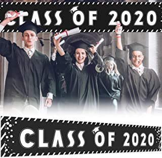 9.8 x 1.6 ft Large Sign Class of 2020 Banner - Black Perfect Congrats Grad Party Decorations Backdrop
