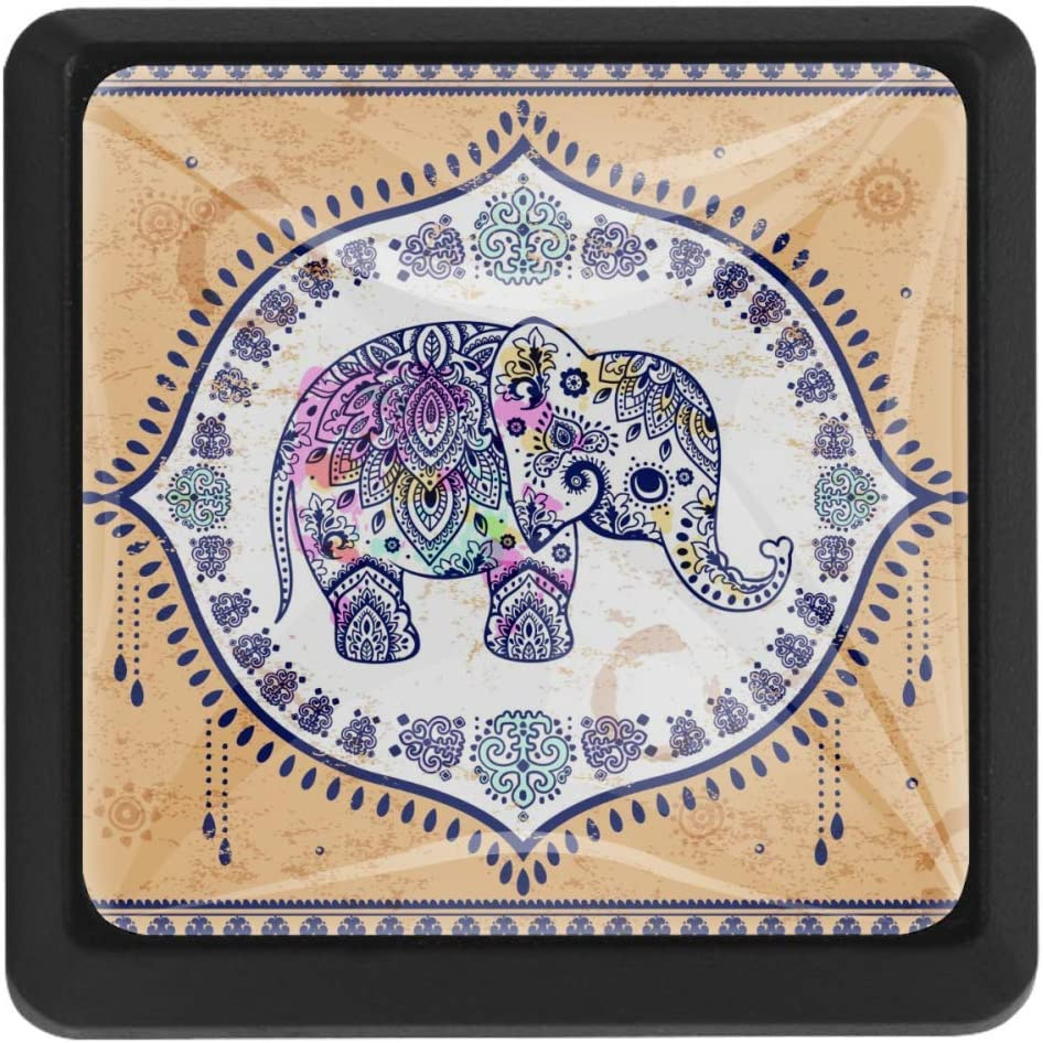 Max 49% OFF Safety and trust Shiiny Vintage Elephant Mandala Floral Pulls Drawer Square Knobs