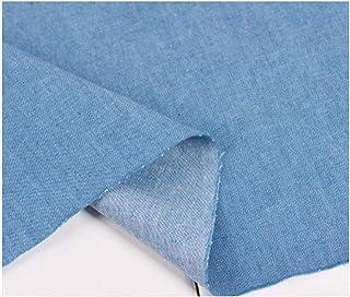 ソフト平野綿100%デニム生地、デニム8.8オンス - プレーンは、軽量ミディアムブルーコットン生地50×150センチメートル水色洗浄しました