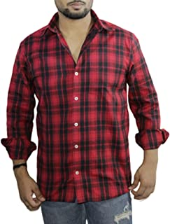 Spanish One Look Mens Casual Long Sleeve 100% Cotton Regular Fit Button Down Casual Shirts Dress in Red Printed Check Shirt for Men