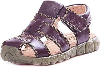 Boys Girls Soft Leather Sandals Kids Closed Sandals Sport Outdoor Sandals Trekking Sandals Walking Shoes Velcro Summer Bea...