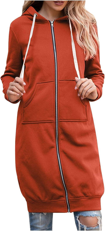 melupa Women's Casual Pockets Zip Up Hoodies Tunic Sweatshirt Long Hoodie Jacket Coat