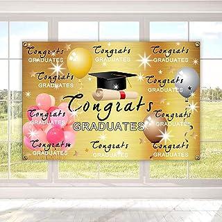 "Yuezoloz Graduation Background Banner 73"" x 43"" Extra Large Backdrops 2020 Congrats Grad Congratulations I Am Done Diploma..."