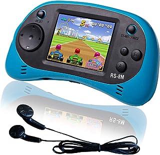 EASEGMER 16 بیتی بازی دستی دستی ساخته شده در 200 بازی ویدیویی HD ، پخش کننده قابل حمل 2.5 اینچ با هدفون - بهترین هدایای الکترونیکی اسباب بازی برای کودکان نوپا 3 تا 10 ساله کودکان (آبی)