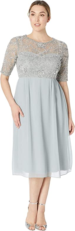 3/4 Sleeve Beaded Bodice with Chiffon Tea Length Skirt