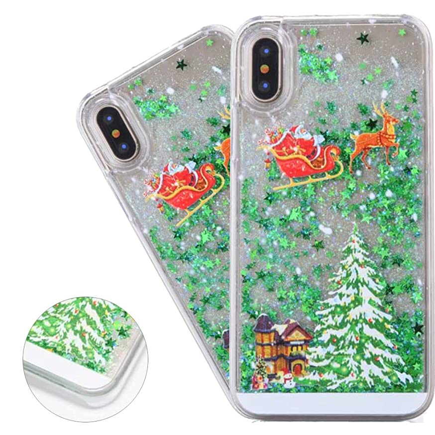 HMTECHUS iPhone Xs Plus case Merry Christmas Tree Children 3D Pattern Glitter Liquid Shockproof Clear Hard Protective Quicksand Silicone Ultra-Thin Cover for iPhone Xs MAX -Christmas Tree