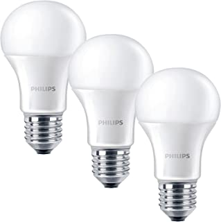 Philips E27 Edison Screw Light Bulb, 9 W - Warm White, 2700K, Pack of 3 [Energy Class A+]