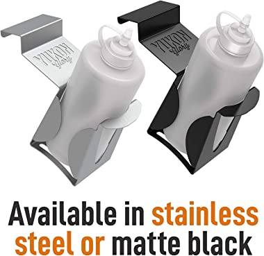 Yukon Glory Squeeze Bottle Holder, Designed to fit the Blackstone 1517 and 1825 Griddles Griddles, Set of 2 Stainless Steel H