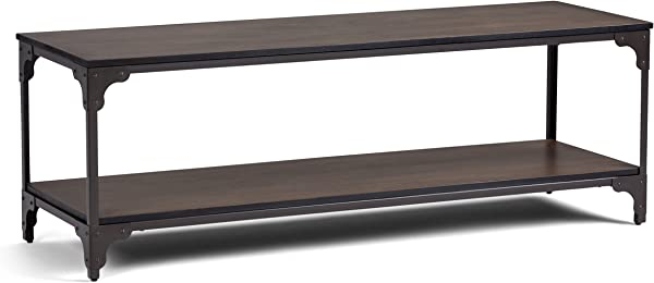 Simpli Home 3AXCNTT 05 Nantucket Solid Mango Wood 54 Inch Wide Modern Industrial TV Media Stand In Walnut Brown For TVs Up To 60 Inches