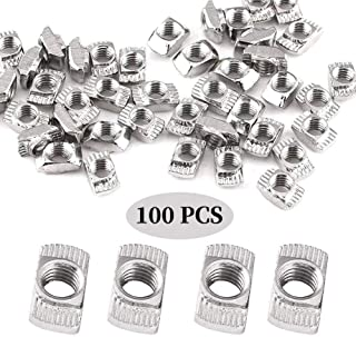 100Pcs 2020 Series M5 T-Nuts Carbon Steel Nickel-Plated Half Round Roll in Sliding T Slot Nut