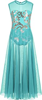 CHICTRY Girl's Lyrical Dress Floral Sequins Leotard with Long Mesh Overlay Skirts Dance Costumes
