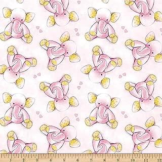 David Textiles Sleepytime Elephants Pink Flannel Fabric by The Yard
