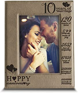 BELLA BUSTA-Happy 10th Anniversary-10 Years of Marriage,Months, Weeks, Days, Hours, Weeks, Minutes, Seconds- 10 Years Engraved Leather Picture Frame (5