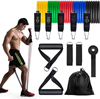 Rueyfelly Resistance Bands Set 11PCS Workout Bands 5 Stackable Exercise Bands with Handles ,Door Anchor and Ankle Straps,Stackable Up to 150lbs,for Resistance Training,Home Workouts
