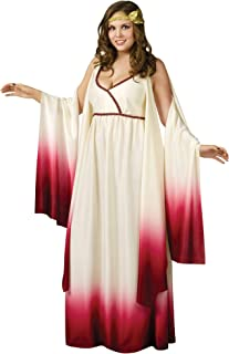 Halloween Costumes for Women - Sexy Roman Greek Goddess Plus Size 10-14 Costume - Ladies Athena Party Toga Costume Red