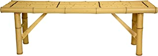 ORIENTAL FURNITURE All Natural Tropical Style Coffee Table Alternative, 4-Feet, 48-Inch Japanese Design Bamboo Pole Folding Leg Bench, Bleached Light