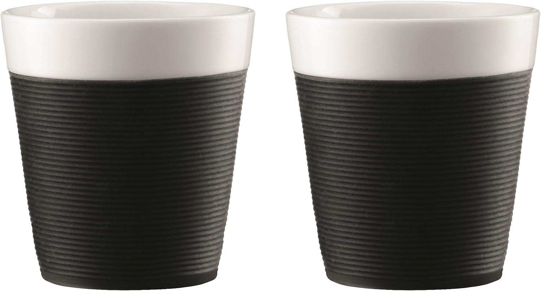 Bodum Set Tazas de Porcelana, Negro, 0,17 litros