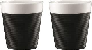 Bodum Bistro - 2 Piece Porcelain Mugs with Black Silicone Sleeve - 0.17l