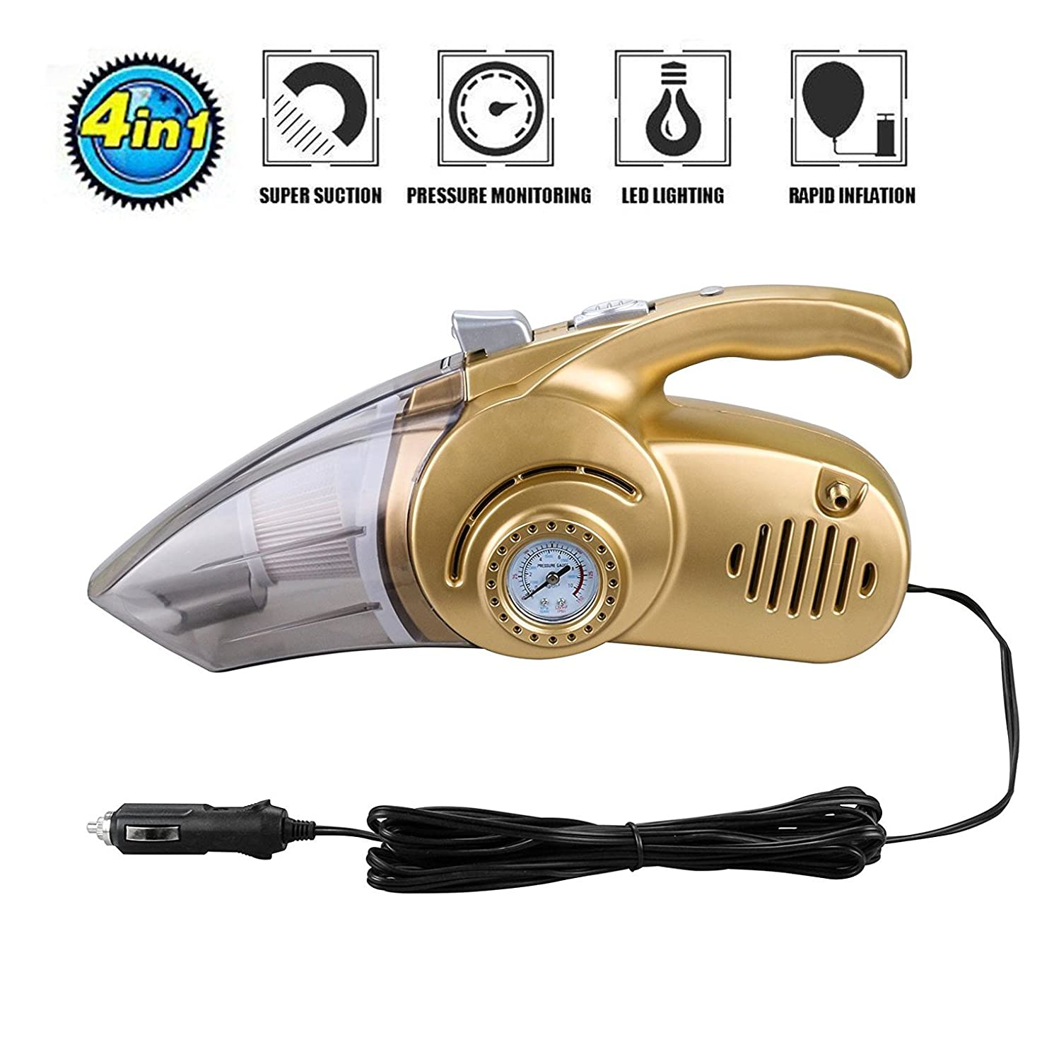 MUEQU 4 in 1 Car Vacuum Cleaner With Tire Inflator,Tire Pressure Gauge,Floodlight,12V 120W Handheld Wet/Dry vacuum Cleaner,Strong Suction,Filter, 4.5M Power Cord (Gold)