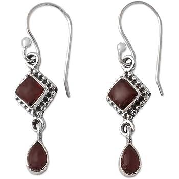 Garnet and Moonstone Square Oval 925 Sterling Silver Dangle Earrings