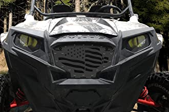 300 Industries Steel Grille Replacement for Polaris RZR 800 & 900 (2011-2014) - Single Piece Powder Coated Satin Black - American Flag