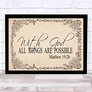 cupGTR :) Bible Wall Art—Perfect Christian Gift - with Frame - Size18x12in -Matthew 1926, with God All Things are Possible, Christ, Miracles, Wonder Signs