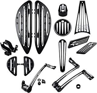 Front Rear Floorboards Footpeg Mount Brake Arm Kits Heel Toe Shift Levers Shifter Pegs Dash Accessory Pack Ignition Fuel Door Saddlebag Latch Cover Frame Grille Compatible with 09-13 Harley Touring