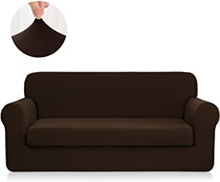 CHUN YI 2-Piece Stretch Polyester and Spandex Rhombus Jacquard Sofa Slipcovers Durable Soft Sofa Cover High Elastic Loveseat Slipcover Easy Fitted 2 Seats Couch Covers (Loveseat, Chocolate)