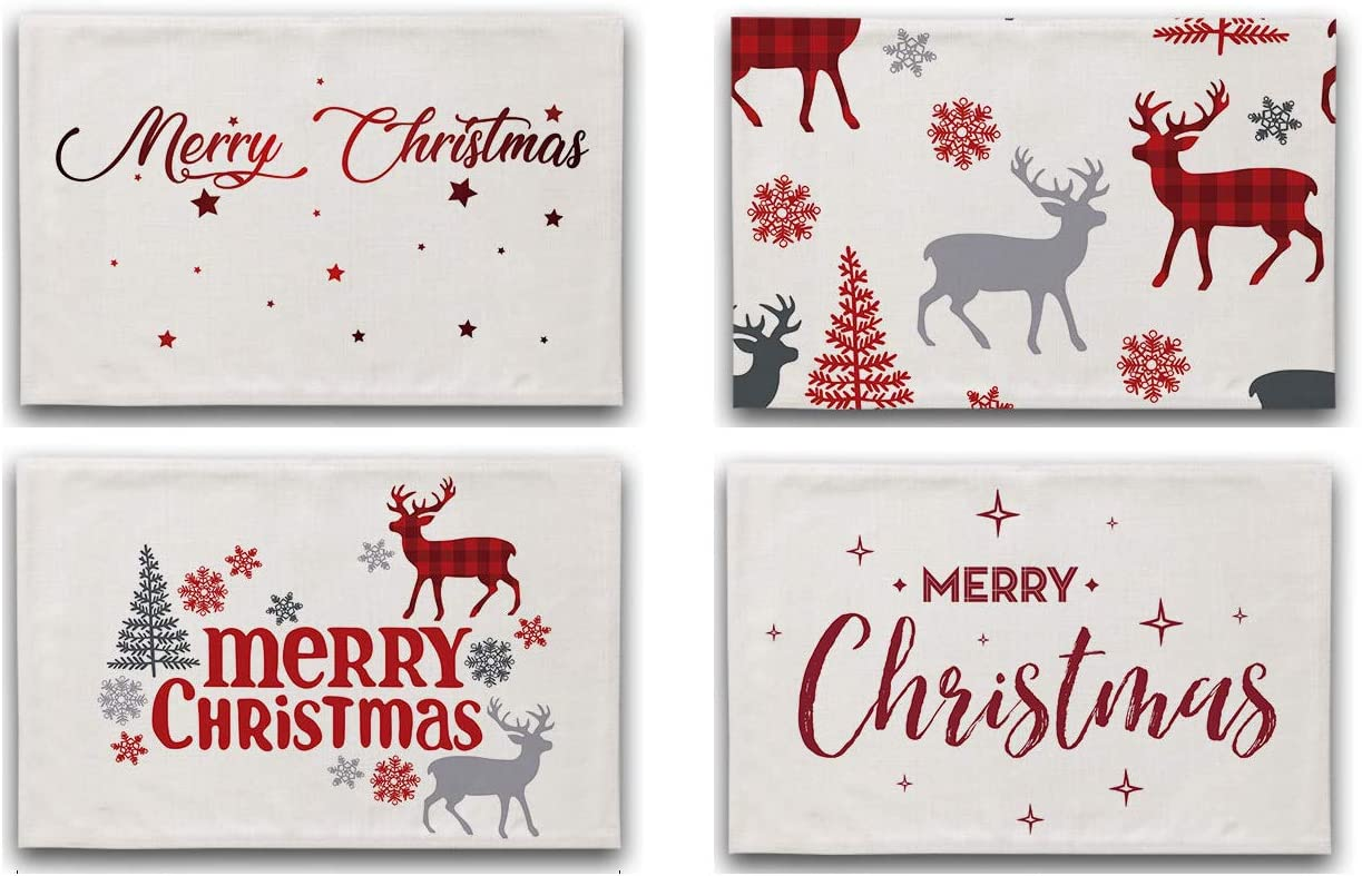 Lovely Kids Christmas Placemats Cartoon Table Cotton Heat-R Mats Dealing full price Industry No. 1 reduction