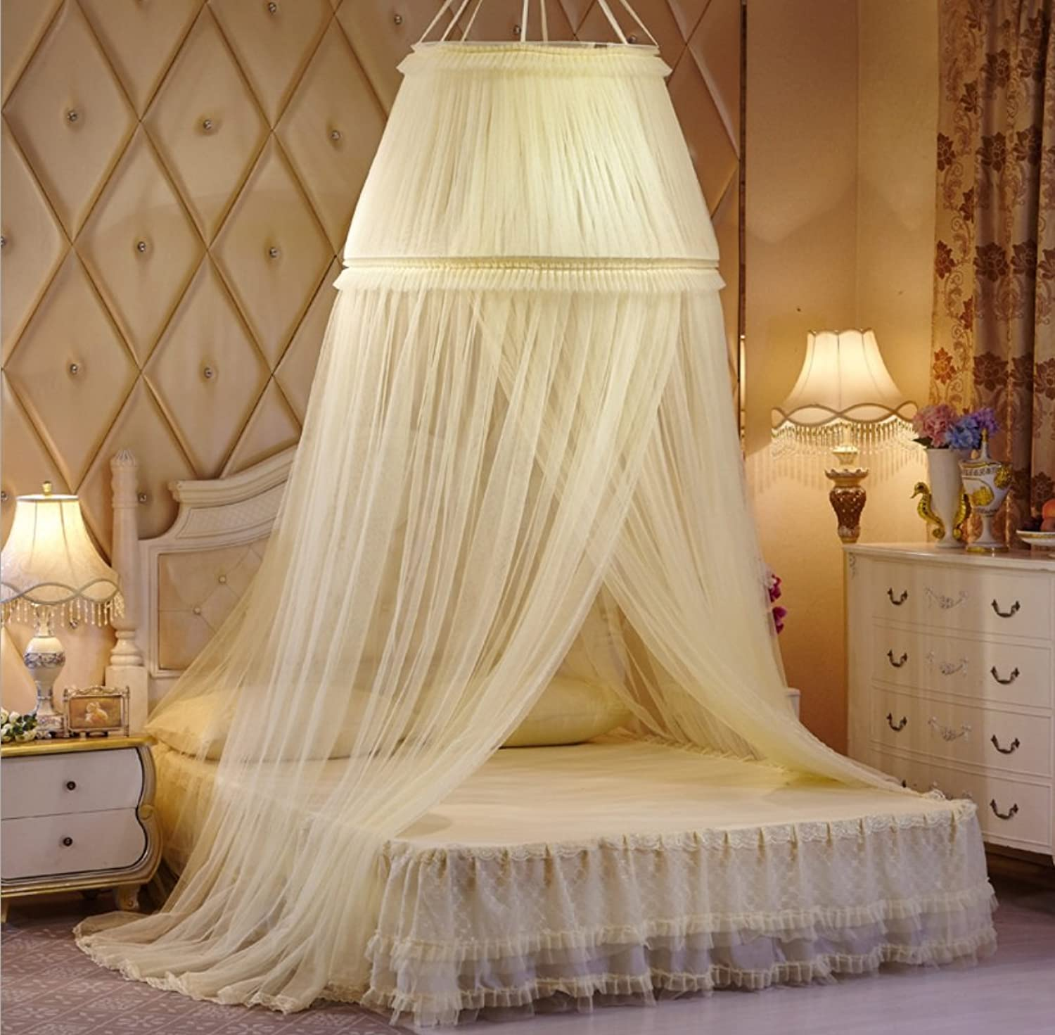 Hanging Palace-Style Mosquito Net European Romantic Style Size Bed Universal Lower Diameter 100cm Lace ZXCV (color   Beige)