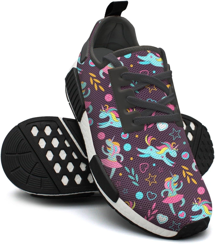 WESER Dark Red Stars Cute Cartoon Dabbing Unicorns Outdoor Sport Printed Lace-up Running shoes NMD