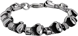 Epinki Bangle Bracelet for Stainless Steel Smooth Boxing Glove Link Silver Chain Bracelets for Mens
