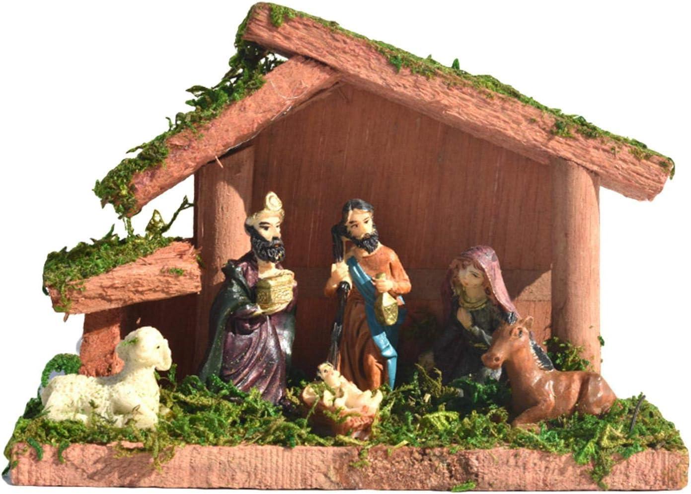 Allowevt Table Top Nativity Scene Set 7 PCS Mini Resin Holy Birth Figurine Lamb Horse Stable Farmhouse for Holiday Home Decor 6.3x2.95x4.3/Inch