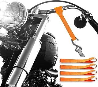 Badass Moto - Soft Loop Motorcycle Tie Down Straps - 11,000 Lbs Break Strength, Heavy Duty Ultra Soft Loops - Scratch Free Trailering - Tow Bikes, Trikes, ATV, UTV - Hi Vis Orange - 4 Tiedowns