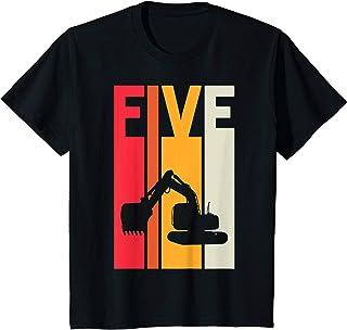Enfant 5 Ans Anniversaire Retro Excavateur Construction Garçon T-Shirt